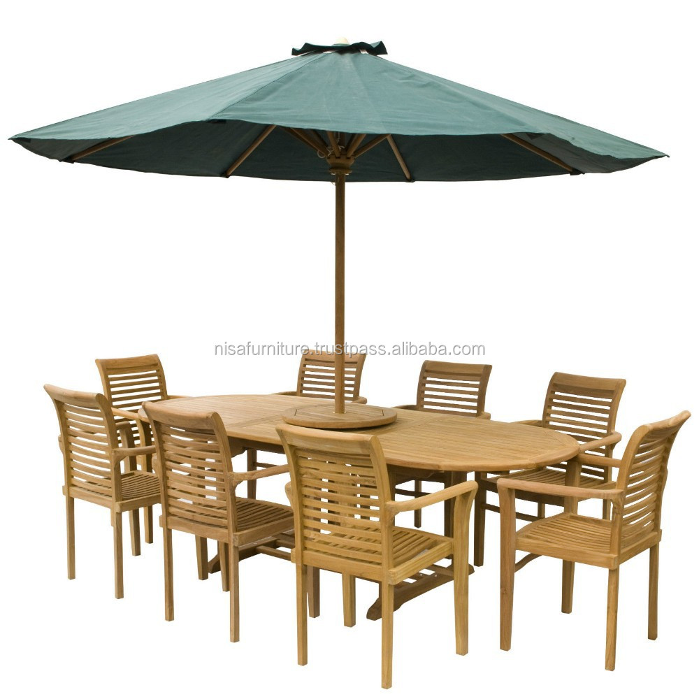Extending dining table set and Stacking Chair teak wood outdoor furniture