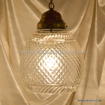 Clear Glass Pendant Light Vintage Hanging Lamp Lighting Vintage Glass Brass Hanging