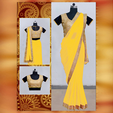 Yellow Colored Embroidered Saree With Blouse Pice-.