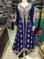 Royal Blue Color A Line Anarkali Long Frocks Golden Color Aari Zardosi Fully Loaded Work For Arab Girls Or European