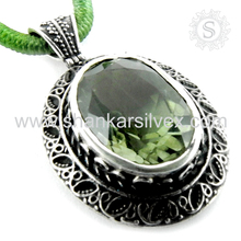 Interesting Green Amethyst Pendant Natural Gemstone Silver Jewelry Wholesale 925 Sterling Silver