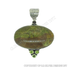 natural green penny opal gemstone pendant,sterling silver pendant bezel,jewelry suppliers from india