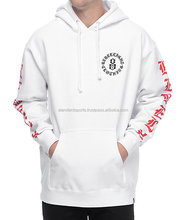 Mens hip hop clothing plain blank White fleece hoodie sportswear bulk customizing custom made hoodies