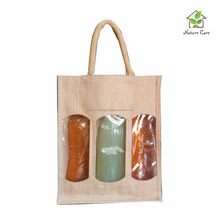 3 bottle jute wine bag with PVC window/Jute wine bag