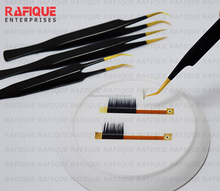 Professional Eyelash Extension Tweezers with Golden Tips / Golden Points Black Tweezers