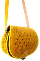 Pretty Handmade Genuine Leather Yellow Embossed Satchel Bag