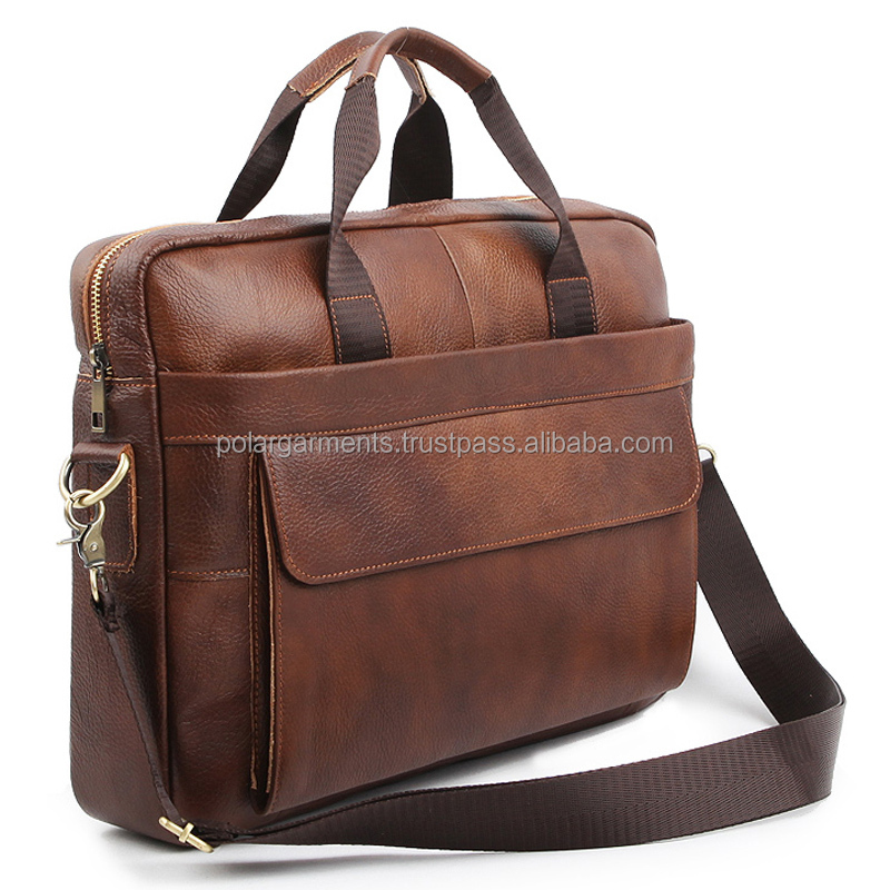 Men's Leather Briefcase Laptop Bag For Business Use