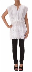 WOMEN NEW INDIAN EMBROIDERED CHIKANKARI COTTON TOP KURTI LACE WORK TUNIC