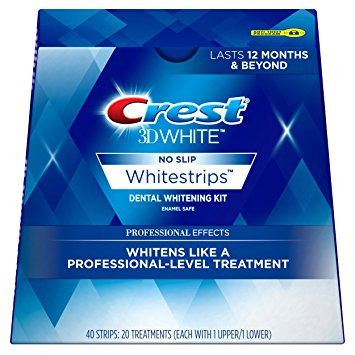 Crest 3D White Professional Effects Whitestrips Dental Whitening Kit, 20 Treatments
