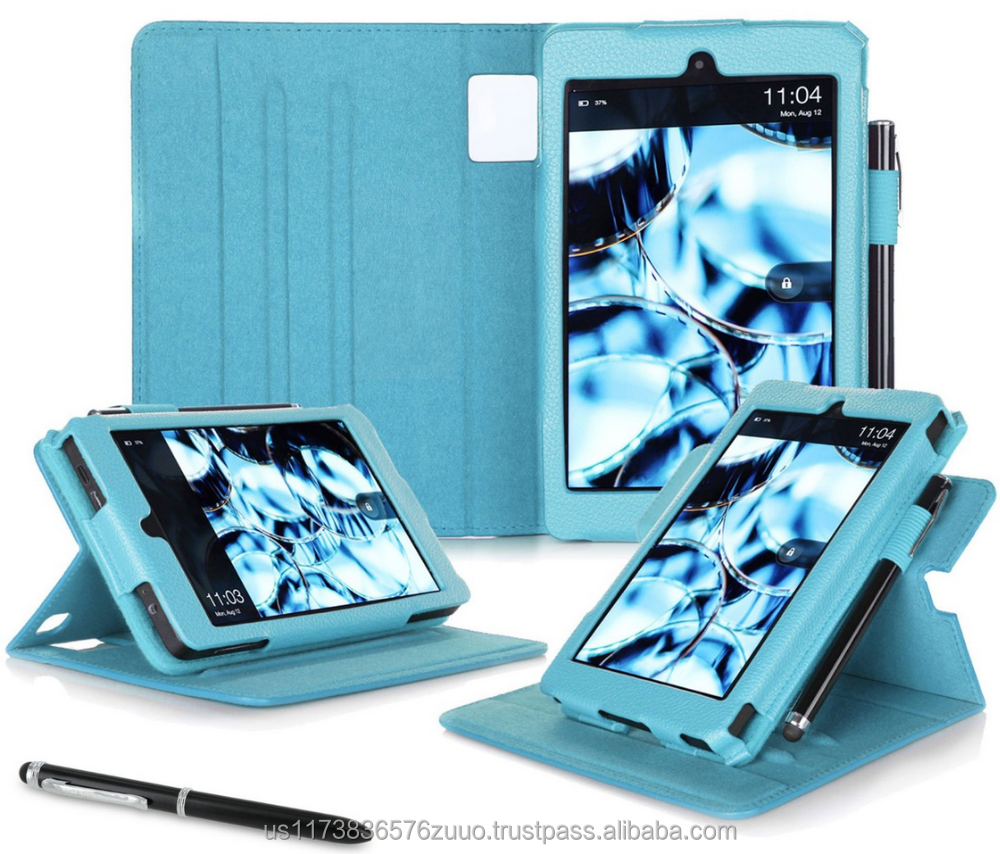 Dual View Slim Fit Premium PU Leather Folio case cover, detach inner sleeve for Fire HD 6 (4th Gen, 2014) roocase (Blue)