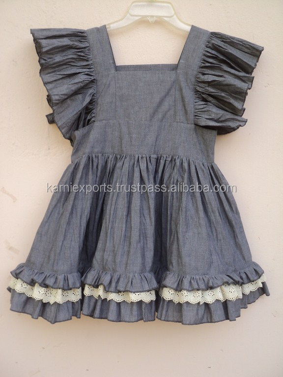100 cotton chambray fabric kids party wear casual dress for Children s cotton dress fabric