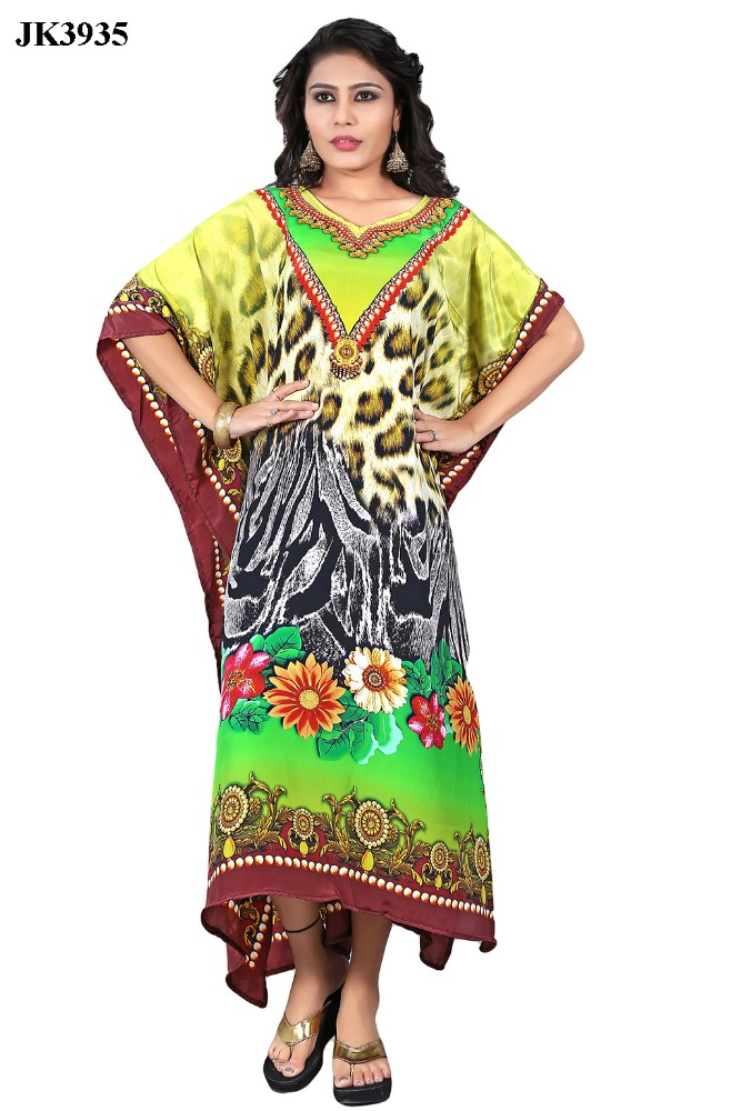 New Arrival Digital Printed Floral Design Long Kaftan