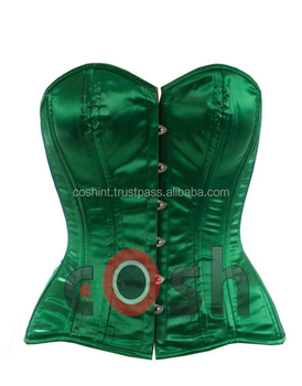 Ci-001 Green Satin Double Steel Boned Fullbust Corset Supplier