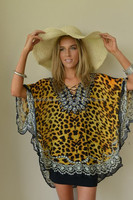 EXOTIC LEOPARD EMBELLISHED KAFTAN TOP
