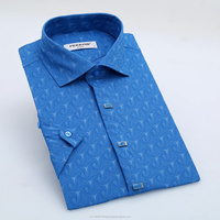 Stretch fabric slim fit spread collar slort sleeve a series of 4 colors4 color mens dress shirt