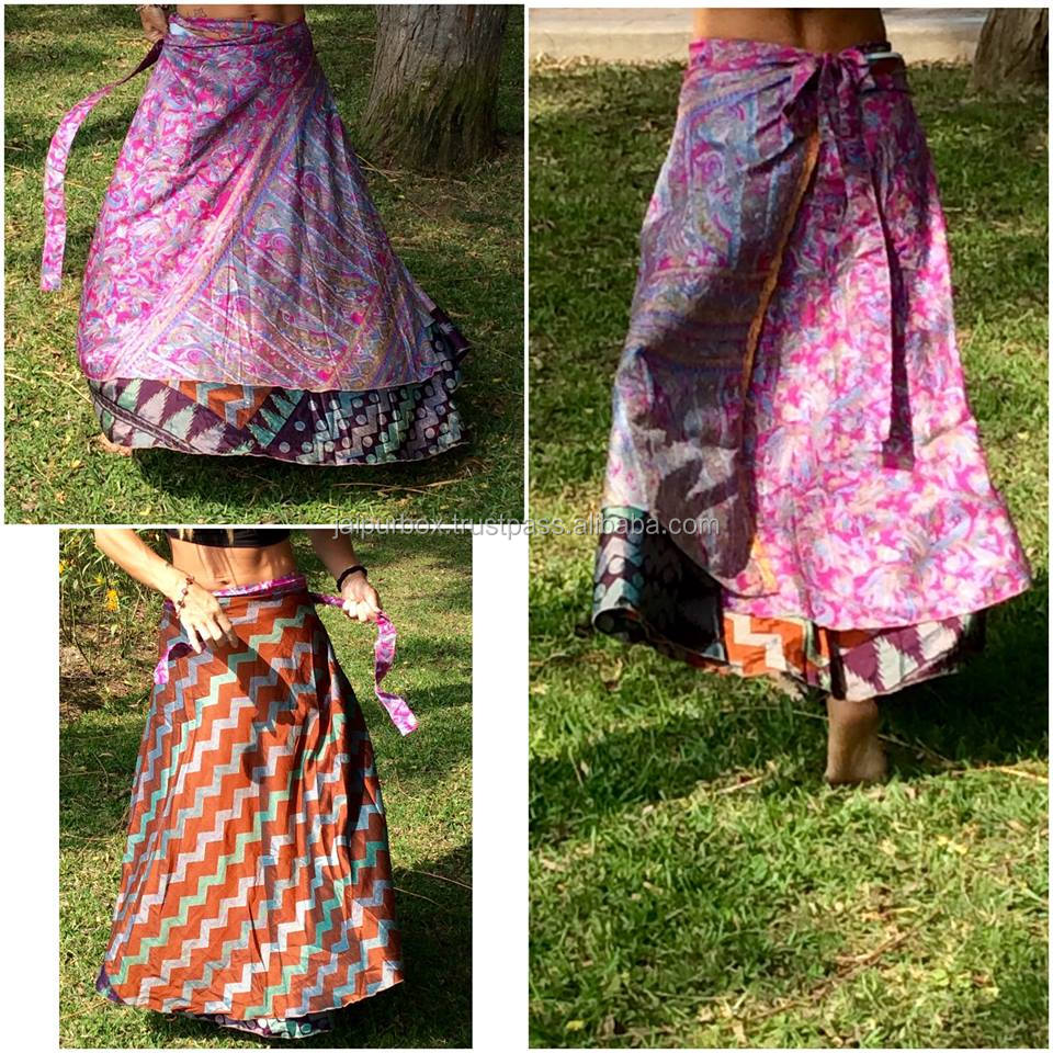 Vintage Poly Silk Reversible Wrap around Skirt Free Size Women Long Sarong WA1114