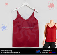 Wholesale women tops V Neck Satin Cami