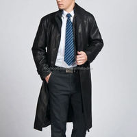 MEN LEATHER TRENCH JACKET GENUINE LAMBSKIN PURE LEATHER TRENCH LONG OVER COAT FC-2259