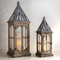 Customized Antique Wood Lantern Creative Hanging Outdoor Lanterns