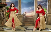 Cream color on hakobha work all over heavy design at neck and rich bottom border Designer Semi Stitch Salwar Kameez