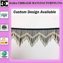 GOLD GLASS SEED BUGLE BEADED FRINGE CHEVRON LAMP COSTUME 6 INCH