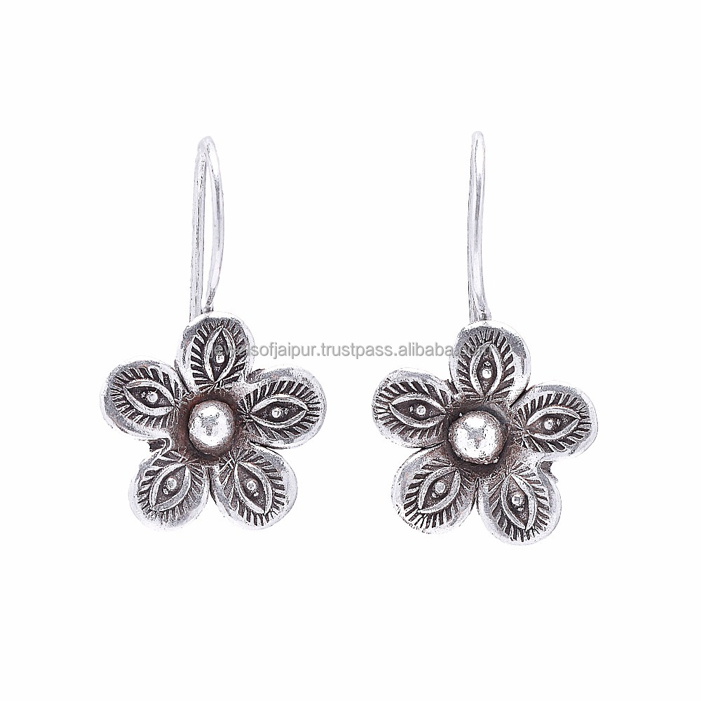 Fashion Earring Designs New Model Floral Style Oxidised Silver Earrings