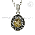 Fluorescence Yellow Citrine Gems Pendant Handmade 925 Silver Jewelry Online Sale Silver Jewelry India