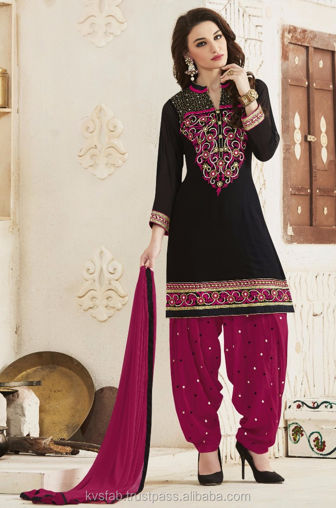 Lurid lace worked Punjab black and pink i patiala suits for lady