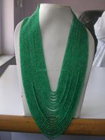 Emerald precious stone beaded necklace