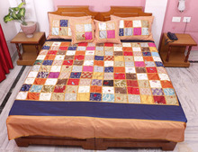 Indian Silk Patola Bedsheet Embroidered Associated Patch Work Jaipuri Bedspread Bed Cover Throw Blanket PSP02