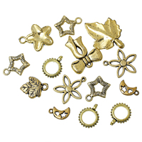 CCB Plastic Charm Pendants At Random Gold Tone About 3.6cm x2.7cm - 17mm x10mm, Hole: Approx 0.5mm-3.5mm, 100 Grams
