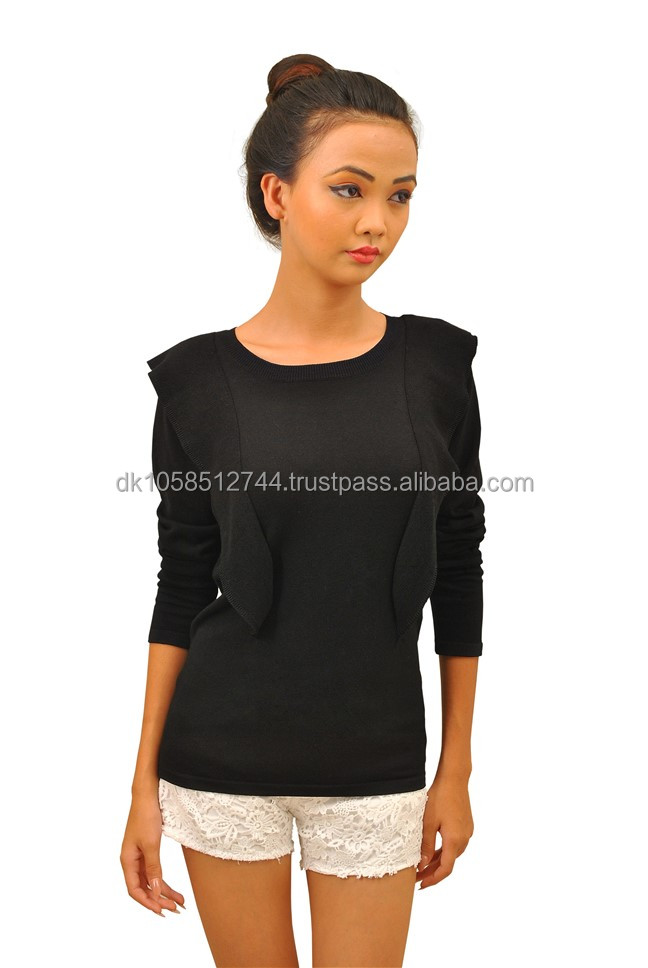 Ladies long sleeve crewneck ruffle top pull over