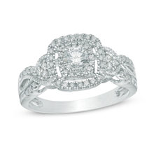 Delightful 1/2 CT 10K white gold Diamond 3 stone princess cut engagement ring 2 carat diamond sengagement rings