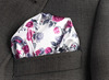Fuschia Saten Pocket Square, Production, Manufacturing, custom, Hankercheif,