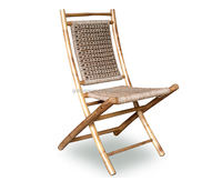 Bamboo folding chair - Bamboo deck chair - Bamboo coffee chair w/ water hyacinth, wicker, seagrass..