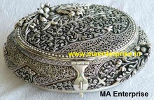 Antique Silver handmade Dry fruit metal Box