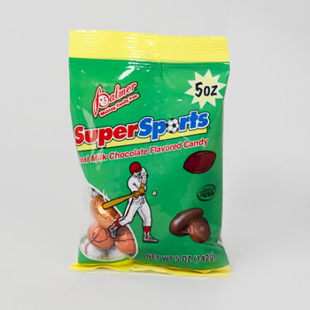 CHOCOLATE SUPER SPORTS REAL MILK CHOC FLAV CANDY 5 OZ PEG BAG #60511