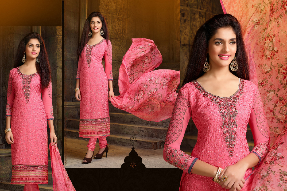 Bollywood Stylish Pink Stone Work Straight Suit