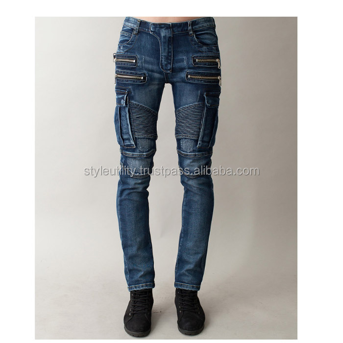 jms0136 Biker style cargo wash man's denim jeans Made in Korea Instock MOQ6 /OEM MOQ 300 pairs