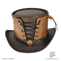 Steampunk Hat Victorian Corset Gothic Leather Top Hat 2 Tones