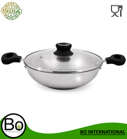 Stainless Steel Cookware Tri Ply with Glass Lid Kadhai 22,24,26cm