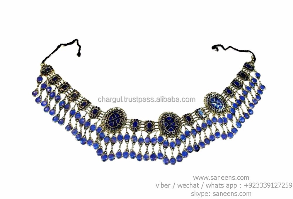 tribal nomad boho artwork belts in lapis lazuli traditional afghan belts in german silver ats bellydance wholesale jewellery lot