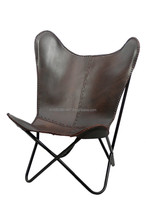 Iron Folded Frame Leather Butterfly Chair