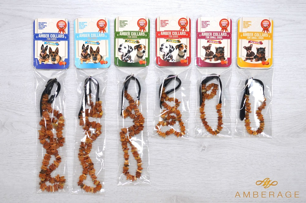 Natural Baltic Amber Collars for Dogs with Natural Leather Strap from Fleas and Ticks 6 sizes!