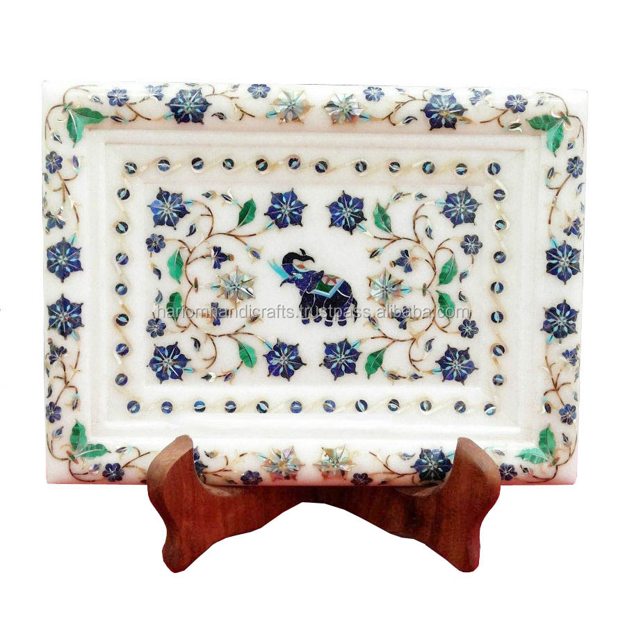 "14""x10"" White Marble Serving Tray Plate Rare Marquetry Lapis Elephant Mosaic Inlay Art Kitchen Decor Gifts H1692"