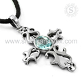 Scrumptious Design Cross Pendant 925 Sterling Silver Blue Topaz Wholesaler Gemstone Silver Jewelry Jaipur