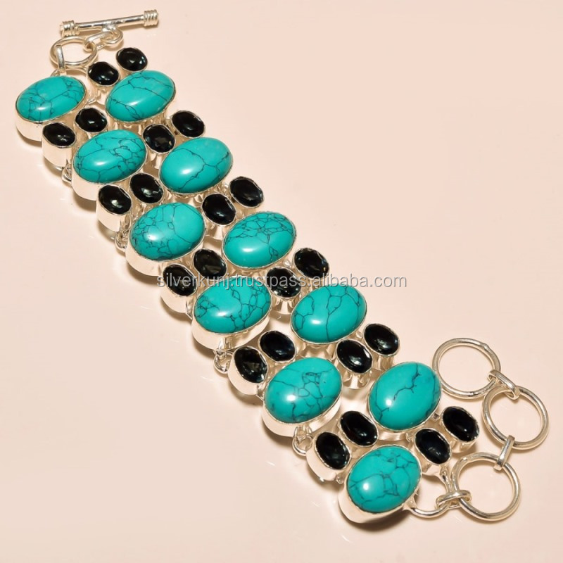 santa rosa turquoise with color change alexandrite wholesale gemstone silver bracelet jewelry