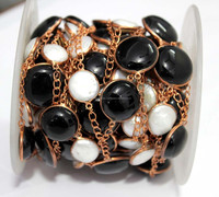 Freshwater Pearl & Black Onyx Round Cabs Bezel Beaded Rose Gold Plated 925 Sterling Silver Chain