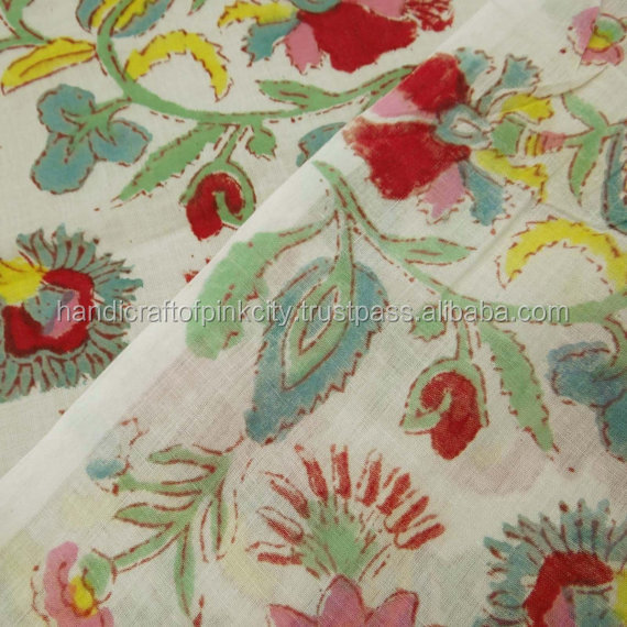 flower Print fabric hand block printed fabric indian Dress maiterial