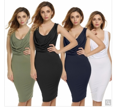Women Lady Sleeveless High Waist Knee Length Sexy Bodycon Casual Party Solid Dress